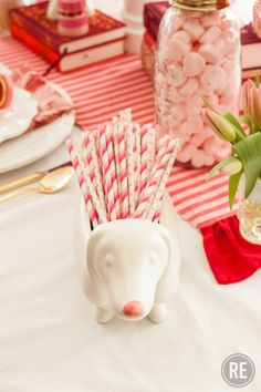 Valentine's Day Pink and White Party Paper Straws