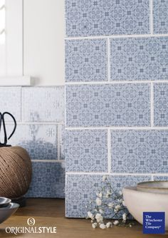 The Winchester Tile Company Artisan Decorative Rosemoor on Snape Brick Tiles add a decorative design to any kitchen or bathroom wall. Brick Tiles Kitchen, Blue Tile Backsplash Kitchen, Blue Gray Kitchen Cabinets, Kitchen Cabinets And Countertops, Kitchen Walls, Kitchen Floor, Backsplash Ideas, Small Kitchen Layouts, Kitchen Designs