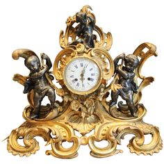 Louis XV Gilt Ormolu Clock | From a unique collection of antique and modern clocks at https://www.1stdibs.com/furniture/decorative-objects/clocks/