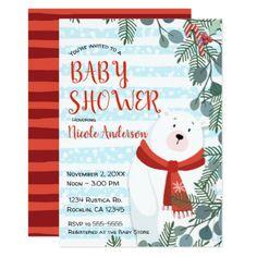 Christmas Holiday Winter Polar Bear Baby Shower Card - holidays diy custom design cyo holiday family