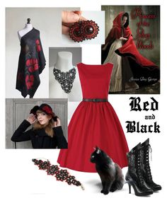 """""""Red and Black"""" by landoflaces on Polyvore featuring moda, gothic, fantasy, victorian i handmade"""