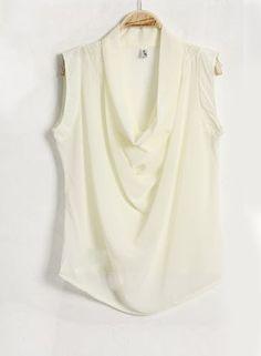 Solid Sleeveless Chiffon Shirt Beige