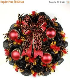 50% Off Beautiful Animal Print Christmas Deco Mesh Door Wreath by Crazyboutdeco on Etsy