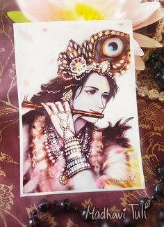 A6 Art Print Krishna Plays His Amazing Flute Lovely Bhakti Yoga Devotional Original Vrindavan Govinda Gopal Radhe Shyam Happiness Postcard