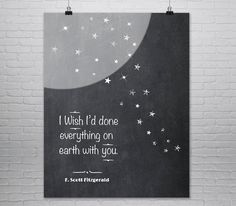 F. Scott Fitzgerald Quote Print, Great Gatsby, Love Quote, Typography Poster, Literary Art Print, First Anniversary, Valentines Day, Giclee