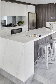Quantum Quartz engineered stone benchtop. White & Grey kitchen inspiration.