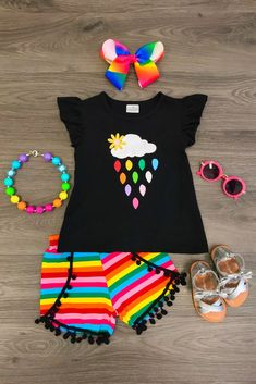 Raindrops Pom Pom Short Set