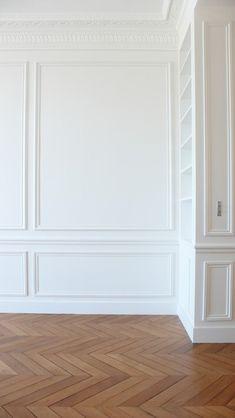Living Room White Wood Floor Moldings Ideas For 2019 Living Room White, White Rooms, New Living Room, Living Room Decor, White Wood Floors, Wood Walls, Paneling Walls, Modern Wall Paneling, White Wall Paneling