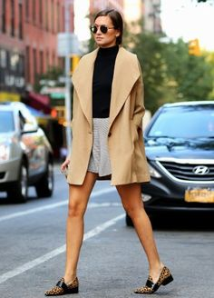 camel coat with fall outfit