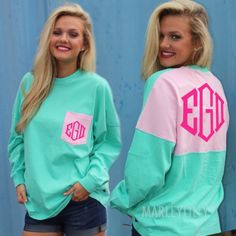 Monogrammed Mint Colorblock Pocket Jersey - Available in 4 colors, pick any color for the monogram!