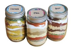 DIY Spice Rubs for Chicken, Pork and Beef in a Mason Jar -- great gift for guys