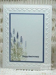 """Bonnie Klass.  We all loved the use of the white space in this card, perfectly accented by the """"stamped-off"""" images from the Herbed Expressions stamp set.  This clean and simple design is just stunning!"""