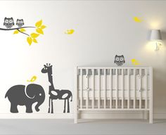 Baby Room Animal Decals with Tree Branch, Animals, Birds, and Owls by DesignsByDelia09 on Etsy