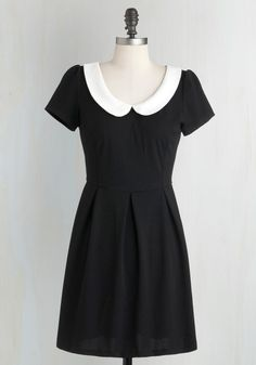 Record Time Dress - Black, Solid, Peter Pan Collar, Casual, Vintage Inspired, A-line, Short Sleeves, Exposed zipper, White, 60s, Variation, Best Seller, 90s, Good, 4th of July Sale, Short, Top Rated
