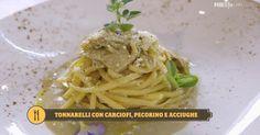Tonnarelli con carciofi, pecorino e acciughe dello chef Antonino Cannavacciuolo