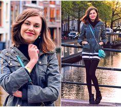 Oasis Parka, Zara Striped Dress, H Boots, Guess? Bag, Michaels Kors Watches, Favoritini Earrings