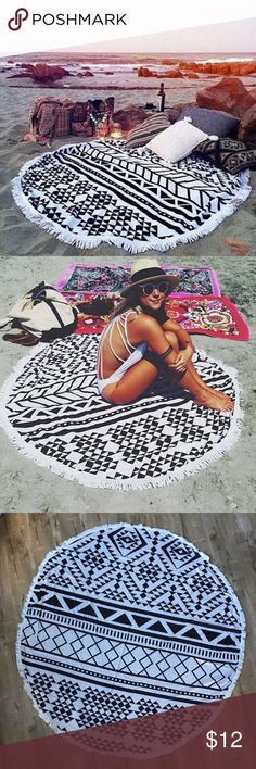 """Black & White Tribal Round Bohemian Throw NEW 57"""" NEW Trendy black and white Tribal graphic inspired round tapestry, wall hanging, beach sheet, yoga mat, boho decor. Fringed edge (fringe is as show in last two pics, not first two pics).  Note: these are NOT looped cotton terry, not absorbent, NOT a towel.  Brand new, never used. 57"""" diameter. Smoke free seller.  No trades please. Other"""