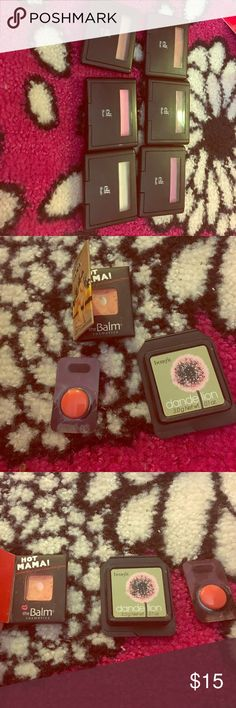 Blushes and bronzer bundle. 7 elf blushes in candid coral, mellow mauve, fuschia fusion, peachy keen, pink passion, gotta glow, and peach perfection. 2 colour pop blushes in rain and prenup. Maybelline highlighting bronzer in deep bronze. 3 mini blushes. The balm hot mama, dandelion by benefit, and a sample of a make up forever blush in 410. Colourpop Makeup