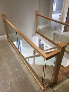 Hemlock and Bespoke Glass Balustrade – staircase Loft Railing, Stair Railing Design, Stair Handrail, Loft Stairs, Staircase Railings, Staircase Ideas, Glass Stair Railing, Stairs With Glass Balustrade, Staircase Glass