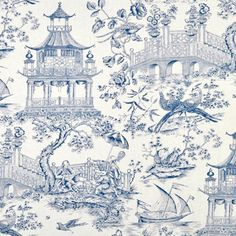 Shop Williamsburg Toile Orientale Porcelain Fabric at onlinefabricstore.net for $30.45/ Yard. Best Price & Service.