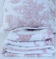 Shabby French Country Pink Pictorial Paris Apartment Chic Throw Quilt & Cushion