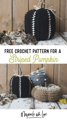 Crochet these easy rustic and elegant pumpkins! Get the free crochet striped pumpkin pattern on my blog - perfect for halloween decor making!