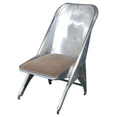 mary ann jones antiques - aluminum airplane seat chair: