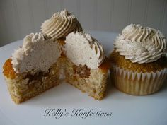 Cinnamon cupcakes w/apple pie filling, & cinnamon swiss meringue buttercream.