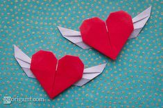 Flying Origami Heart with wings by Paul Ee, folded from a single sheet of paper.