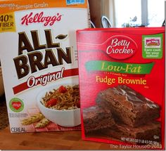 High Fiber Brownie Recipe    Ingredients      3 Cups Kelloggs Extra Fiber All Bran Cereal      2½ cups water      1½ tsp baking powder      1 box Betty Crocker Sweet Rewards Brownie Mix    Instructions      Soak cereal in water for about 5 – 15 min.      Add baking powder and brownie mix. Stir until blended.      Do not add any more moisture. Fill muffin cups about ½ full.      Bake 350 degrees 20 min. Makes 30 med. size muffins
