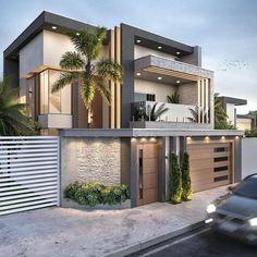 Best Modern House Design, Modern Villa Design, Modern Exterior House Designs, Exterior Design, Modern Contemporary House, Modern Bungalow Exterior, Minimalist House Design, 3 Storey House Design, Bungalow House Design