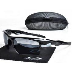 Imitation Oakley Fast Jacket Sunglasses polished black frames warm grey lens