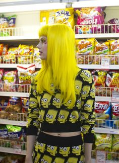 My hair is blue, so it's a perfect time for me to have a total yellow hair fetish. (photo via: Sarah Wooley of All Dolled Up) Yellow Hair Color, Bright Hair Colors, Pastel Yellow, Bright Yellow, Soft Grunge, Grunge Hair, Coloured Hair, Kawaii, Dye My Hair