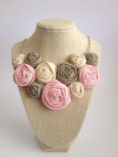 RESERVED-Stone mushroom Tan taupe eggshell pink or custom fashion fabric flower rosette bib necklace silver bridesmaid pearls