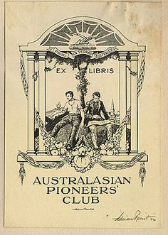 Adrian FEINT bookplate for the Australasian Pioneers' Club. (1924)