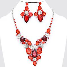 Chunky Red Crystal Gold Chain Necklace Earring Set Fashion Costume