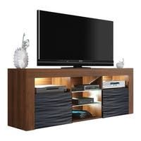 Milano Classic Modern 16 color 63-inch TV Stand | Overstock.com Shopping - The Best Deals on Entertainment Centers - Gray/Wavy Black Living Room Storage, New Living Room, Storage Spaces, Black Tv Stand, Neat And Tidy, Entertainment Room, Modern Contemporary, Light Colors, Furniture