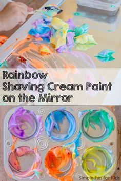 Sensory Art with Rainbow Shaving Cream Paint on the Mirror! - Great (messy) activity for the kids