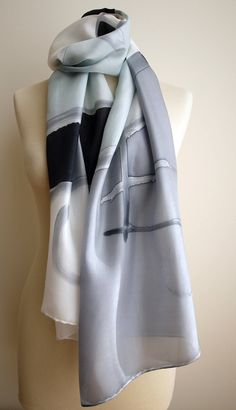 Hand Painted Silk Scarf.Silk Scarf.Hand Painted.Silk Shawl.71x18 in.Wedding Gift.Giveaways. Black-Grey-White silk scarf. 180x45 cm de gilbea en Etsy