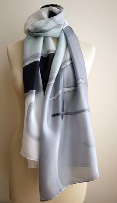 Hand Painted Silk Scarf.Silk Scarf.Hand Painted.Silk Shawl.71x18 in.Wedding Gift.Giveaways. Black-Grey-White silk scarf. 180x45 cm de gilbea en Etsy