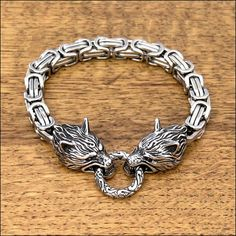 Snarling Wolf Heads on Byzantine Design Chain Bracelet with Ancient Design Spring Clasp Ancient Bracelet, Viking Bracelet, Chainmaille Bracelet, Viking Jewelry, Wire Wrapped Jewelry, Wire Jewelry, Snarling Wolf, Black Diamond Jewelry, Skull Jewelry
