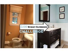 REVEAL: $100 Small Bathroom Makeover!!! (Tons of ideas for inexpensive upgrades)