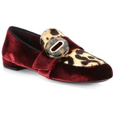 Prada Leopard-Print Goat Hair & Velvet Loafer (514.020 CLP) ❤ liked on Polyvore featuring shoes, loafers, loafer shoes, prada shoes, leopard print slip on shoes, leopard print shoes and leopard loafers