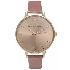 Olivia Burton Big Dial Watch - Rose & Rose Gold (£80) ❤ liked on Polyvore featuring jewelry, watches, rose watches, gold strap watches, olivia burton watches, dial watches and gold wrist watch