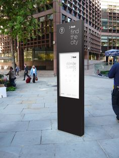 Buenos Aires Wayfinding Sistem by Bando, via Behance Digital Kiosk, Digital Signage, Environmental Graphic Design, Environmental Graphics, Wayfinding Signs, Pylon Signage, Directional Signage, Signage Board, City Branding