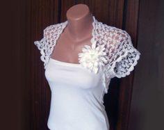 Wedding White Shrug Bolero ,Crochet Lace Bridal Shrug Bolero,Sleeveless,Size S/M,READY TO SHIP
