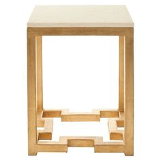 Ray Side Table Gold/Ivory - Safavieh