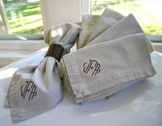 Love giving monogrammed napkins as a hostess gift! Throw a party and use the guest of honor's monogram!  monogramshopping.com