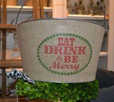 Tin and burlap drink tub at Urban Farmhouse Market