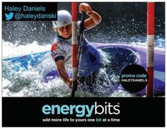 "HALEY DANIELS: Haley is a Canadian white water slalom canoeing Senior National Team athlete! Haley is also a Canadian National Champion! ""Through eating a clean diet I will have the best results in my competition and lifestyle. Through my recent experience with ENERGYbits I have had sustained energy throughout my day where I can give it my all in each training session."""